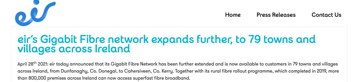 Eir Announces Extension to Gigabit Fibre Network